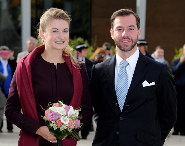 Crown Prince Guillaume of Luxembourg and Countess Stephanie de Lannoy depart from the Ducal Palace for the Grand Theatre to attend their first official event prior to their civil wedding ceremony in Luxembourg