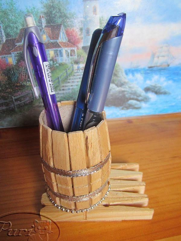 Manualidades puri diaz lapicero con pinzas de la ropa - Como hacer un lapicero de madera ...