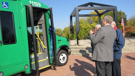 Photo Schaumburg And Pace Officials Admire A New Hybrid Bus Elgin Will Each Receive Five Buses As The Company Examines How To
