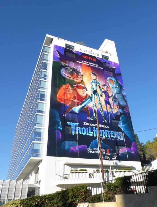 Giant Trollhunters billboard Sunset Strip