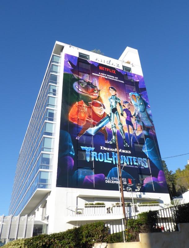 Giant Trollhunters billboard Sunset Strip