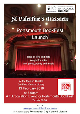 Portsmouth BookFest. St Valentine's Day Massacre poster. Tales of love and hate. A night for spite, with prose, poetry, and music. At The Menhuin Theatre, 3rd Floor Central Library, 13th February 2019. 7pm. Tickets £8. To book, visit: www.portsmouthbookfest.co.uk