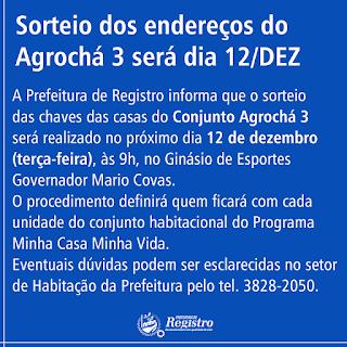 Sorteio dos endereços do Agrochá 3 em Registro-SP neste 12/12