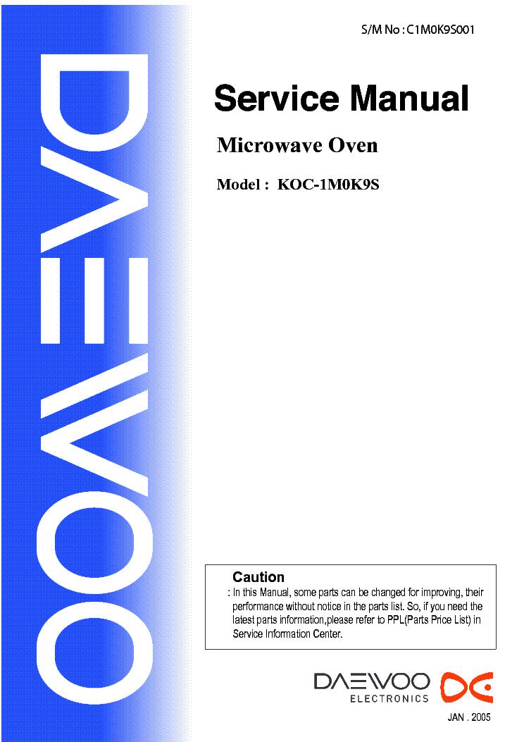 Master Electronics Repair !: DAEWOO MICROWAVE OVEN KOC-1M0K9S POWER