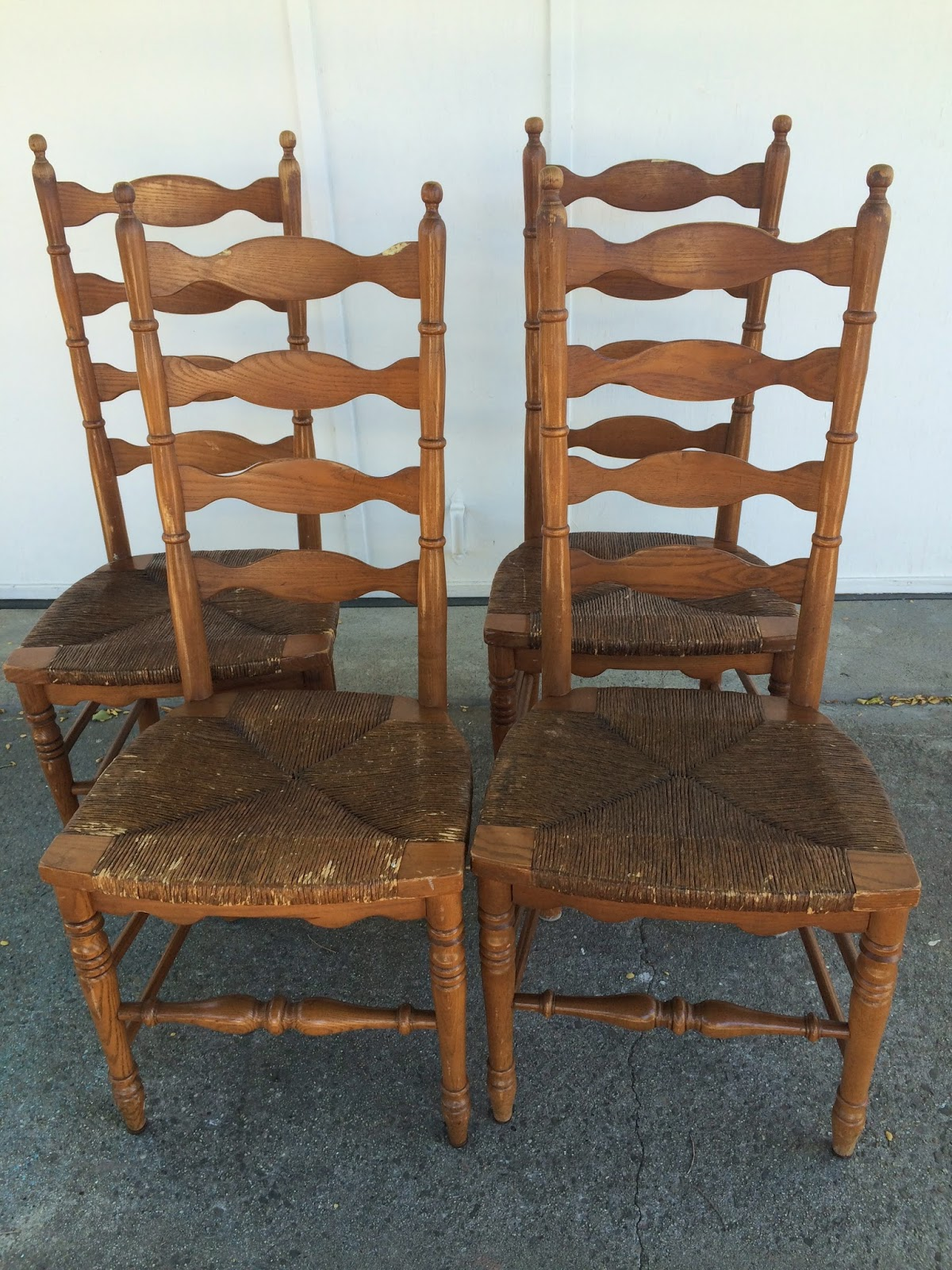 Brand new D.D.'s Cottage and Design: 4 Ladder Back Chairs with Rush Seats OQ39