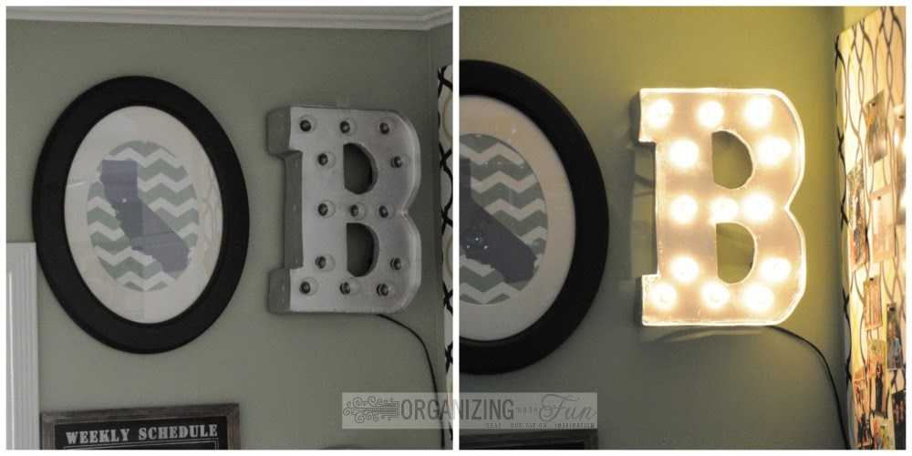 Light up marquee and California print framed :: OrganizingMadeFun.com