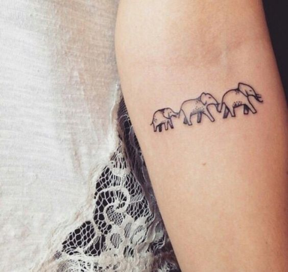 Lovely Elephant Family Tattoo