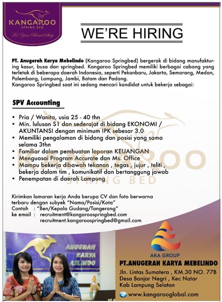 Lowongan Kerja Lampung 2018 di PT. Anugrah Karya Mebelindo (Kangaroo Springbed) Terbaru Mei