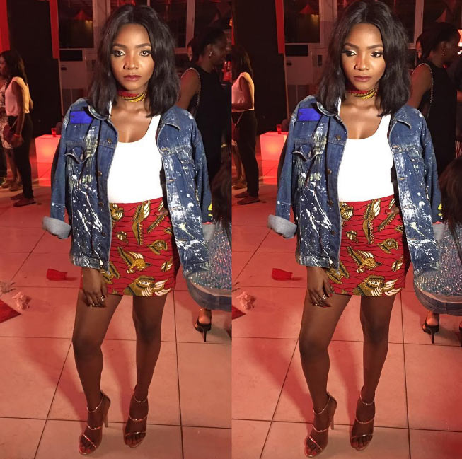 Yah or Nay? Simi steps out in denim top and ankara gown