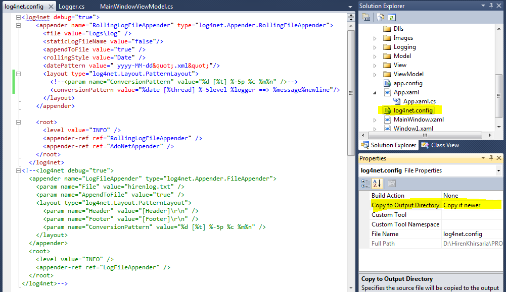 Me And My Code: Logging using Log4Net in WPF