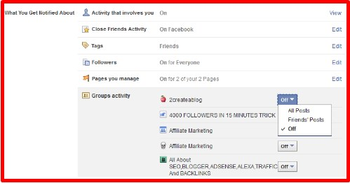 how to turn off all facebook email notifications for groups