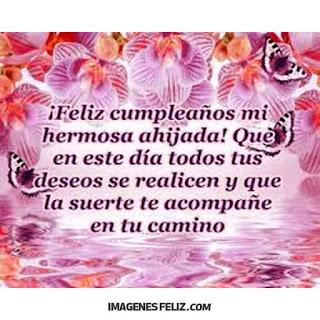 Feliz Cumpleaños ahijada hermosa. Tarjetita con flores y mariposas