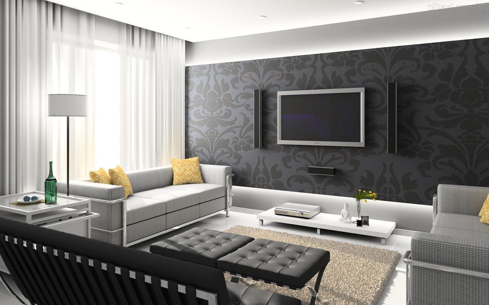 Construindo Minha Casa Clean 13 Salas Modernas Com Papel De  -> Fotos Parede Revestida De Sala