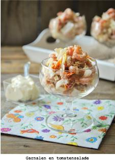 Witlof, zongedroogde tomaten, Hollandse garnalen en mayonaise