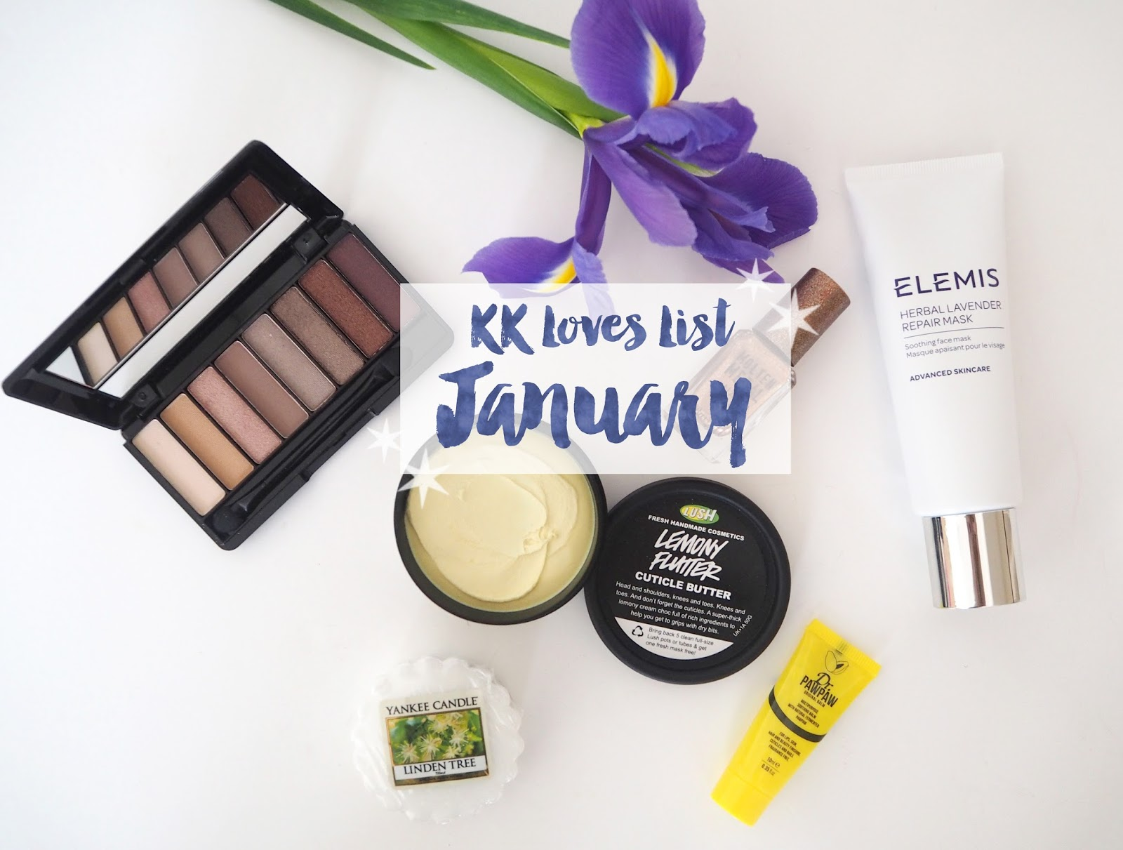 Loves List: January, Katie Kirk Loves, UK Blogger, Lifestyle Blogger, Beauty Blogger, Swatches, Rimmel London, Dr Paw Paw, Yankee Candle, Linden Tree Wax Melt, Lush Cosmetics, Lemony Flutter Cuticle Butter, Barry M Copper Mine Nail Polish, Nail Blogger, Elemis Herbal Lavender Repair Mask,
