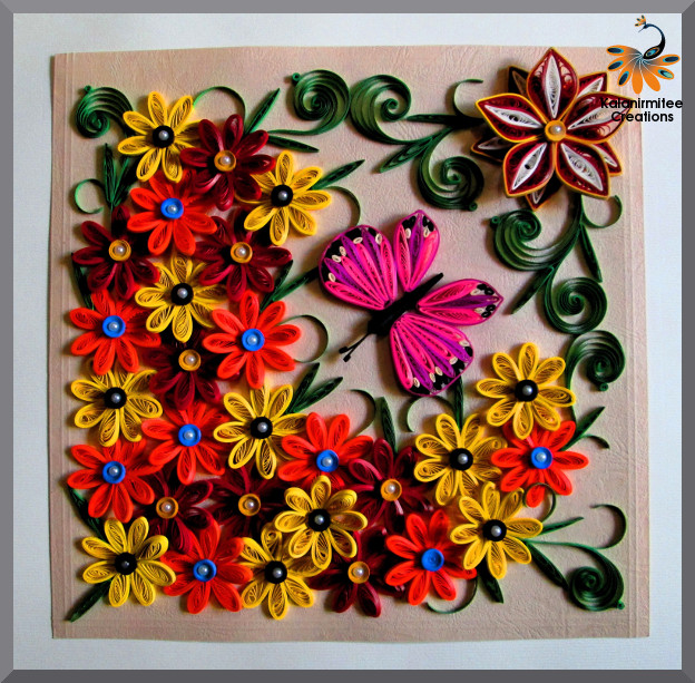 Quilled flowers and butterfly kalanirmitee creations for Paper quilling art projects