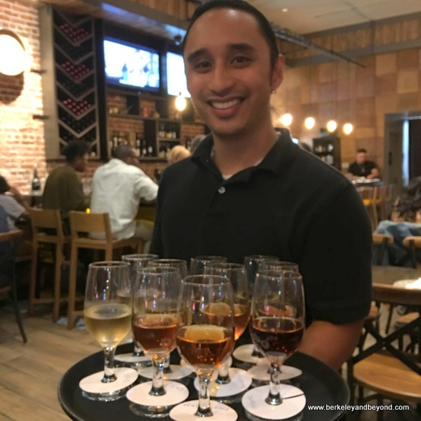 Jason delivers sherry flights at La Marcha in Berkeley, California