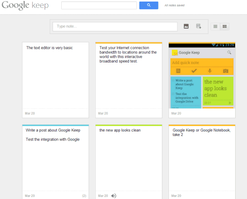 Google Keep, Now Available