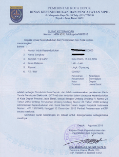 Surat keterangan KTP sementara