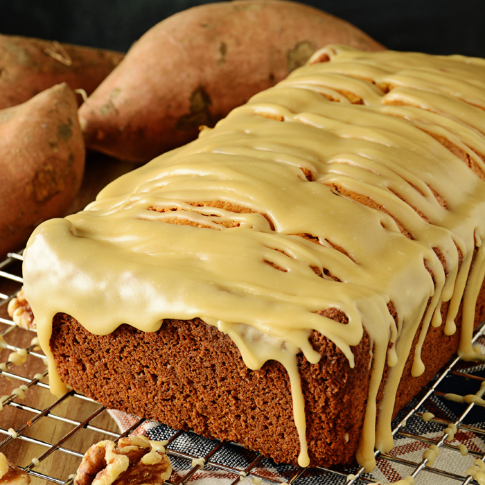 Sweet Potato Bread with Brown Sugar Glaze | A delicious and easy recipe for a quick bread that's perfect for any time of the day.