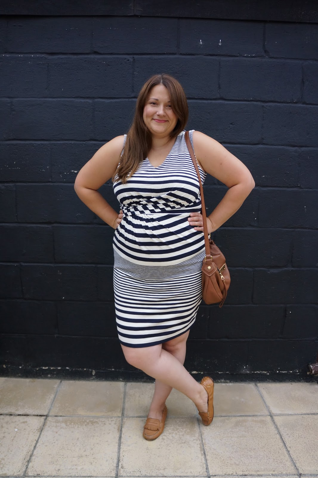outfit picture with phase 8 striped blue and white dress