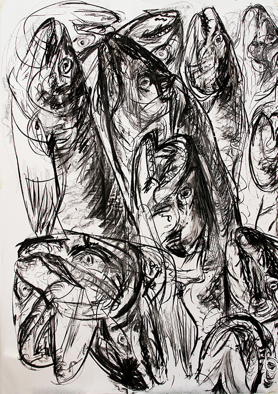 Wieske Wester Fish #3, 2018 charcoal on paper 210 x 150 cm