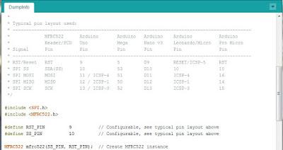 Fig.10 - Sketch DumpInfo della libreria - Fonte IDE Arduino