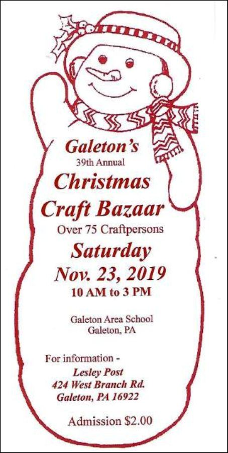 11-23 Christmas Craft Bazaar, Galeton School