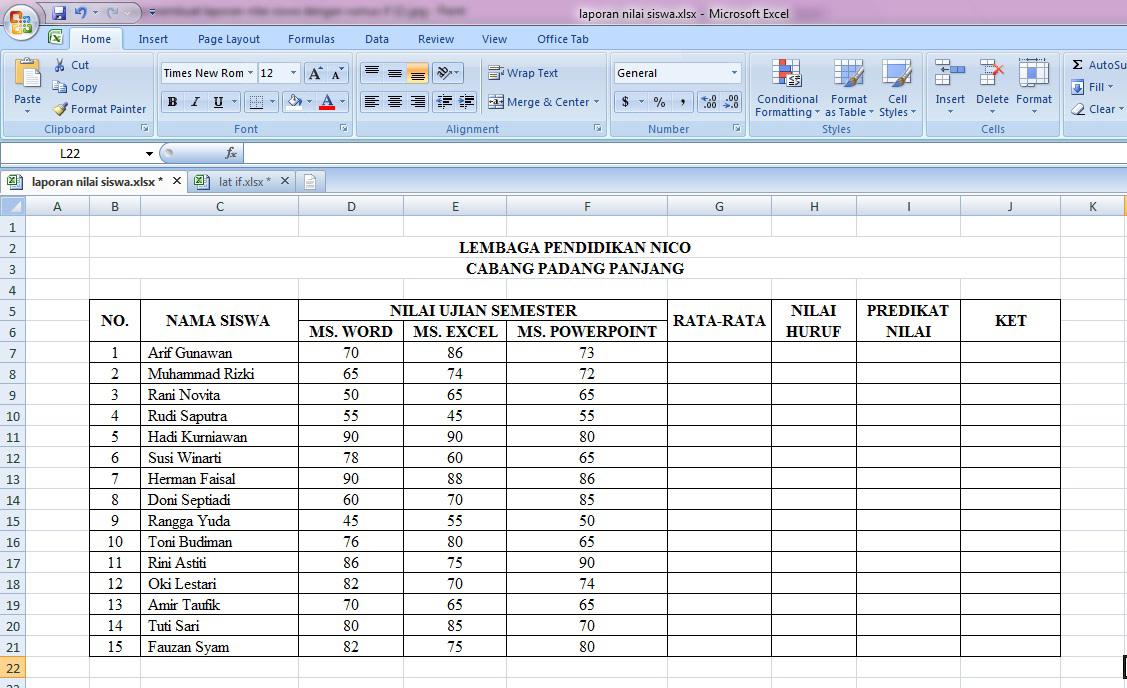 tutorial, cara, cepat, belajar, membuat, laporan, nilai, siswa, rumus, microsoft, excel, if, average