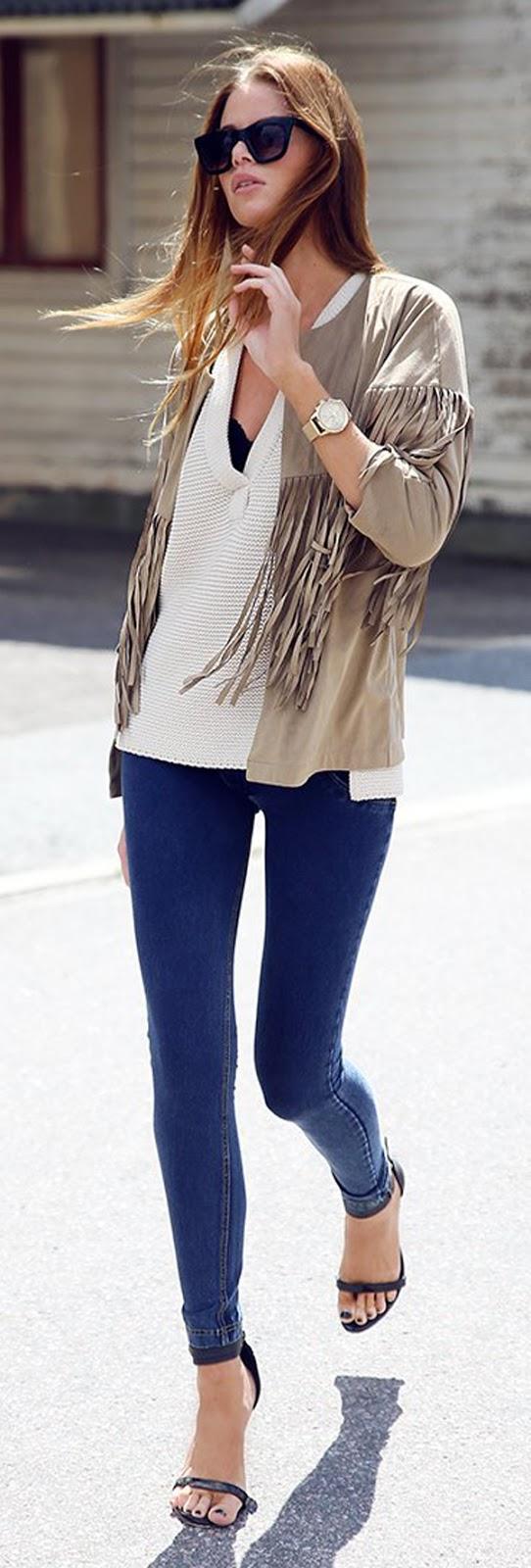 skinny jeans + tank top