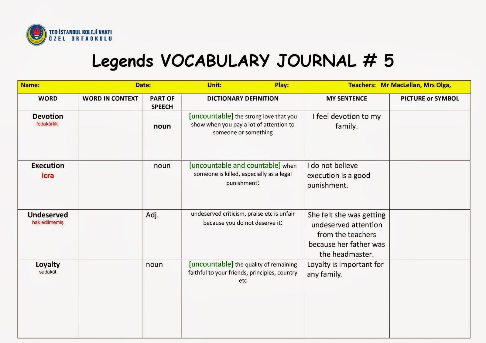 Maya S Teaching Blog Vocabulary Journal 5 Legends 7th Grade