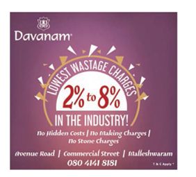 Davanam banagalore  lowest wastage charges 080-41418181
