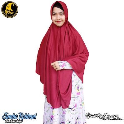 hijab syari jumbo polos model serut belakang bahan kaos