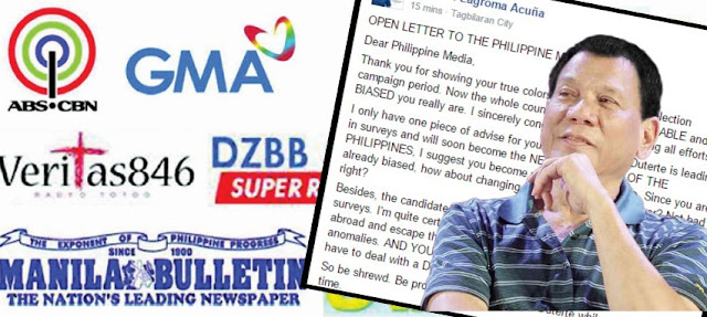 Duterte supporter's open letter to the Philippine Media