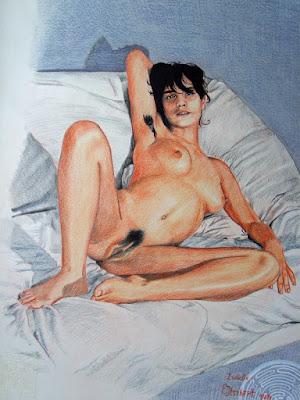 fille nue,dessin,crayons de couleur,lavis,aquarelle