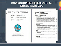 Download RPP Kurikulum 2013 SD Kelas 5 Revisi Baru