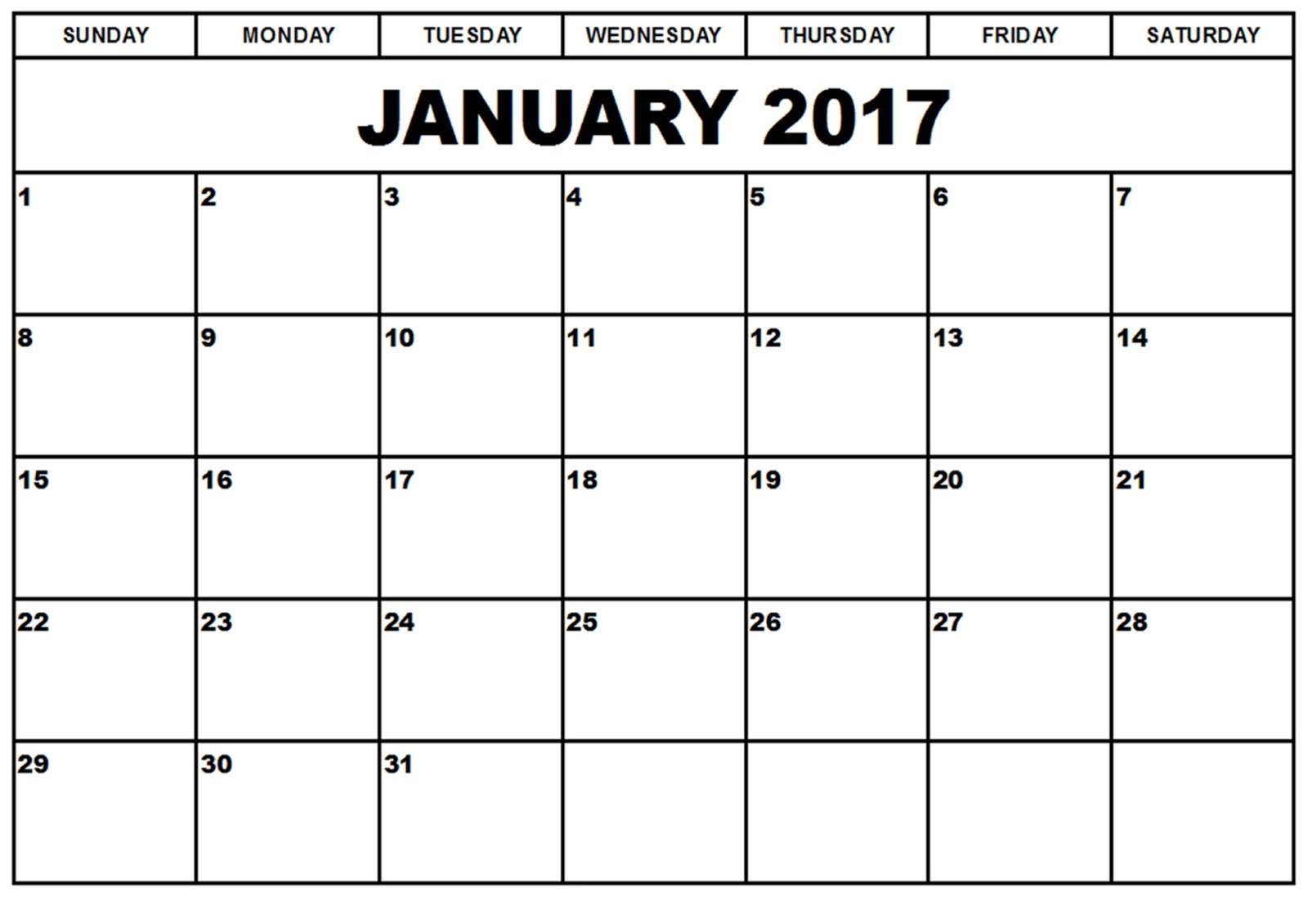 January 2017 Monthly Calendar Printable Templates - Printable ...