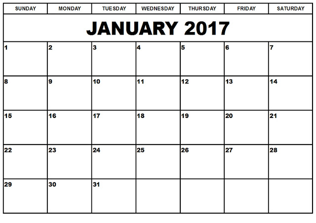January 2017 Calendar, January 2017 Printable Calendar, January 2017 Calendar Printable, January 2017 Calendar Template, January 2017 Blank Calendar