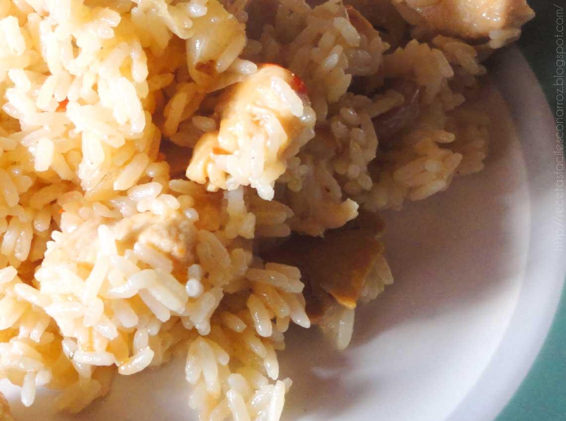 Arroz con pollo, roquefort y champignones