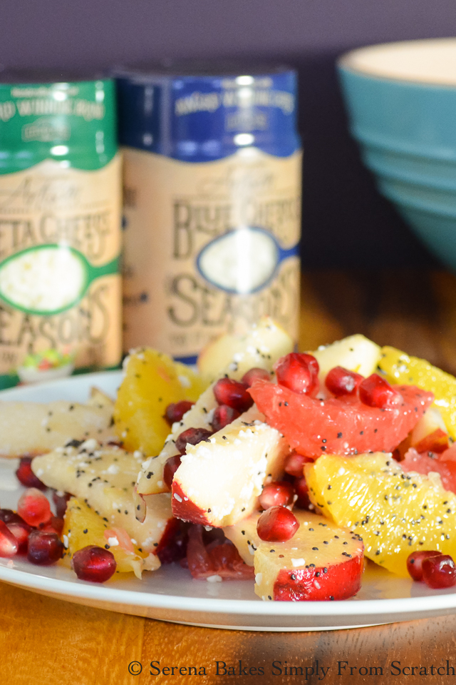 Winter Fruit Salad with Feta Poppy Seed Dressing