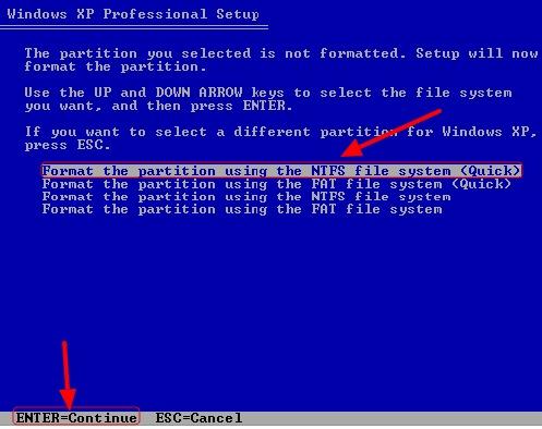 format partisi untuk instal ulang windows xp