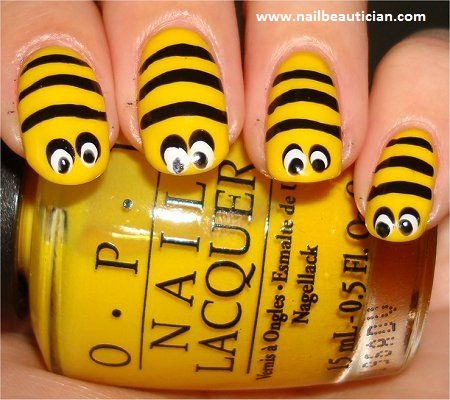 honey bee nail art
