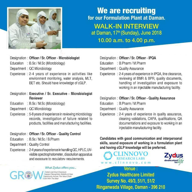Zydus recruiting for Formulation plant