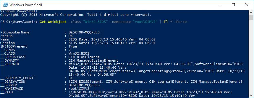 PowerShell, informazioni sul BIOS