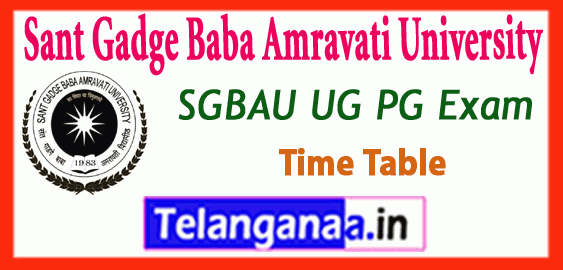 SGBAU Sant Gadge Baba Amravati University UG PG Winter Exam Time Table