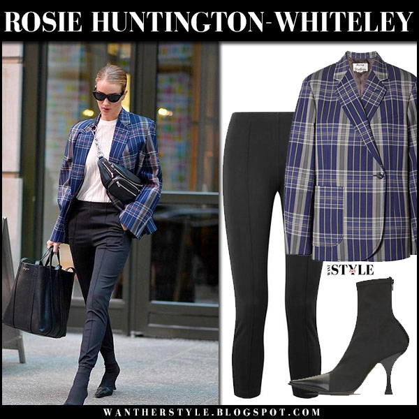 Rosie Huntington-Whiteley in blue checked blazer acne kheira and black skinny pants the row model street fashion march 26