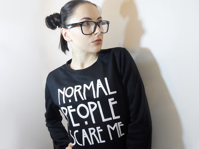 liz breygel blogger zaful Normal People Scare Me Sweatshirt fashion review Zaful girl glasses pics nerd girl hipster