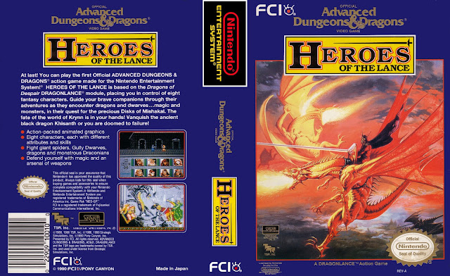 Capa Advanced Dungeons & Dragons Heroes of the Lance NES