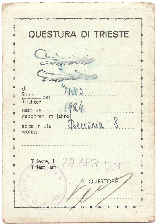 Trieste ritratto borghese lasciapassare questura di for Questura di trieste permesso di soggiorno