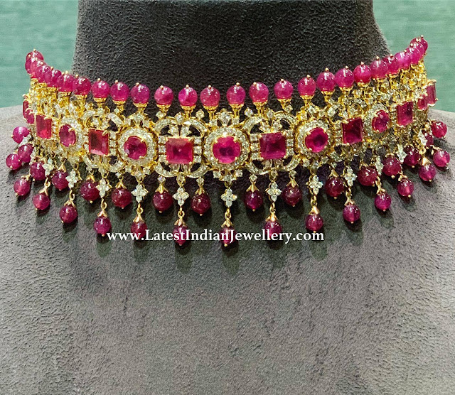 Ruby Drops Diamond Choker